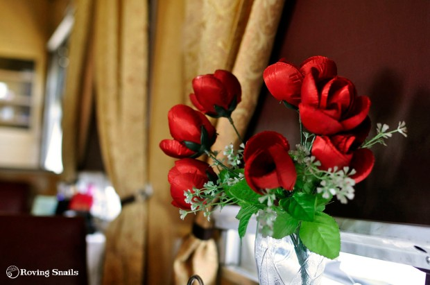 red plastic flowers
