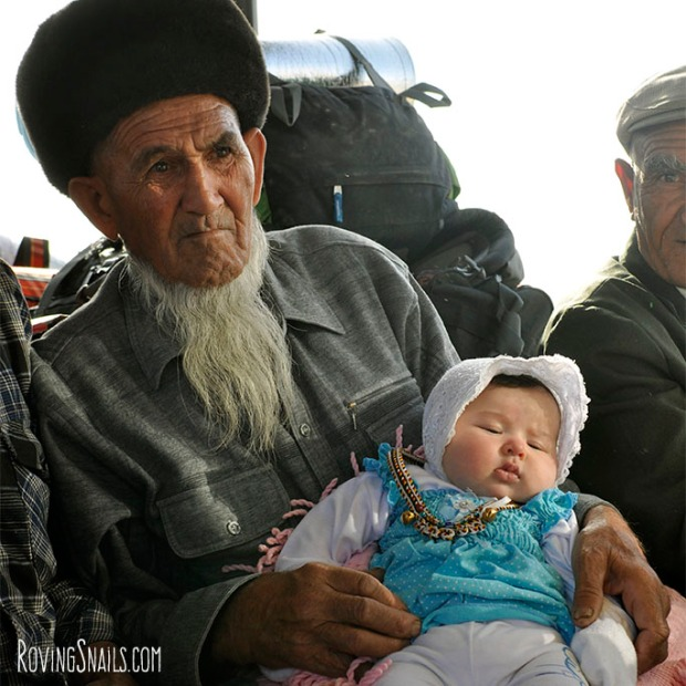 Turkmenistan grandfather and child